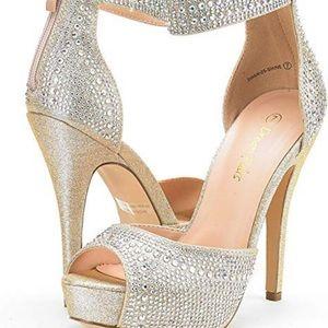 Sparkle peep toe platform high heel